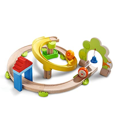 HABA Kullerbu Spiral Track - 26 Piece Wood & Plastic Ball Track Set with Crazy Curves & Bell Age 2+: Toys & Games
