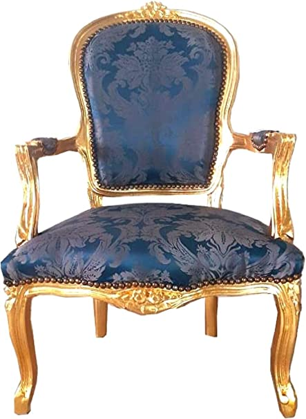Casa Padrino sill/ón de sal/ón Barroco Azul Real patr/ón//Oro 60 x 50 x A 93 cm Muebles de Estilo Barroco Sill/ón de Estilo Antiguo Hecho a Mano con Fino Tejido Satinado