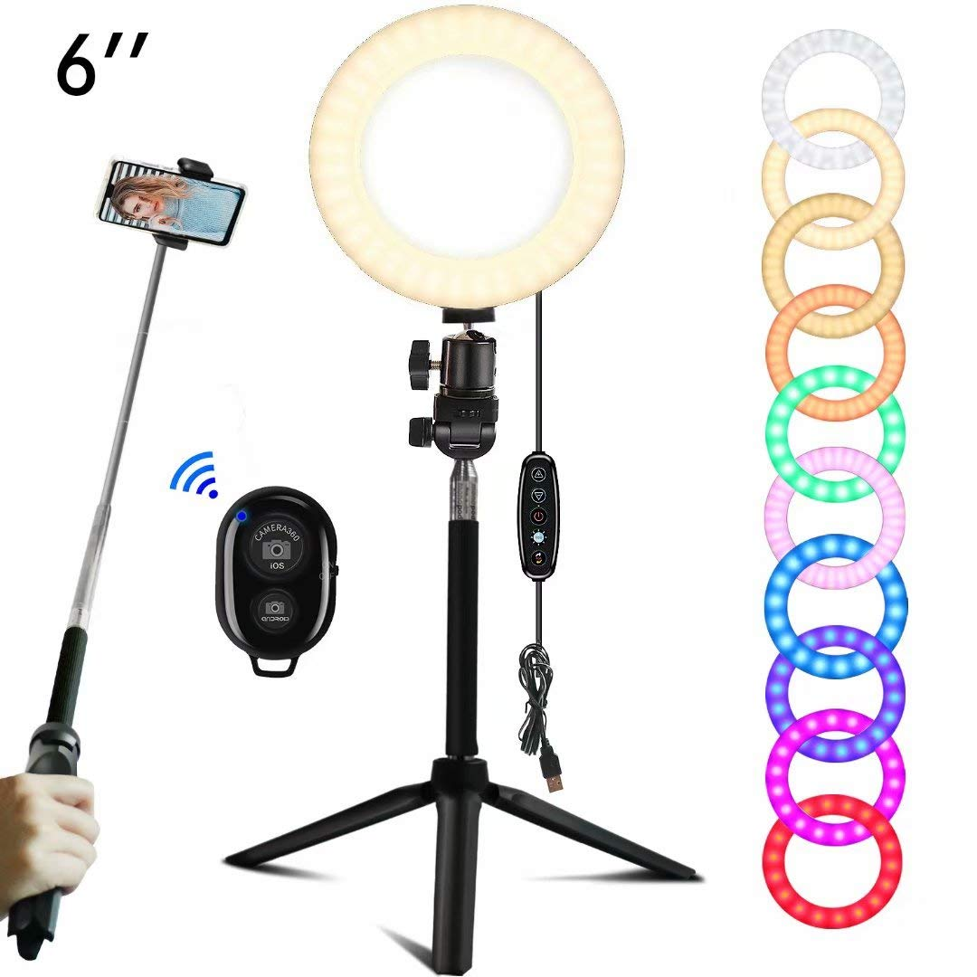 EEIEER Ring lights, 6'' RGB Ring Light with adjustable Tripod Stand, Mini LED Dimmable Selfie Light Ring with Cell Phone Holder Desktop LED Lamp with USB for Makeup, Youtube, Video (RGB, 6 INCH) by EEIEER
