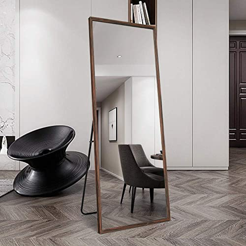 BOLEN 65 x22 Dressing Mirror Full Length Mirror Wood Frame Dressing Mirror Standing/Wall-Mounted Mirror Brown