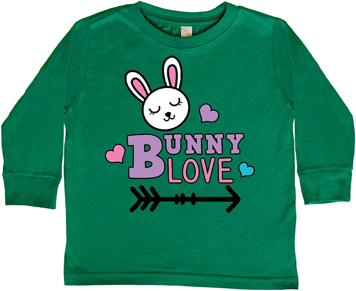 inktastic Bunny Love with Cute Bunny Face Hearts and Toddler Long Sleeve T-Shirt