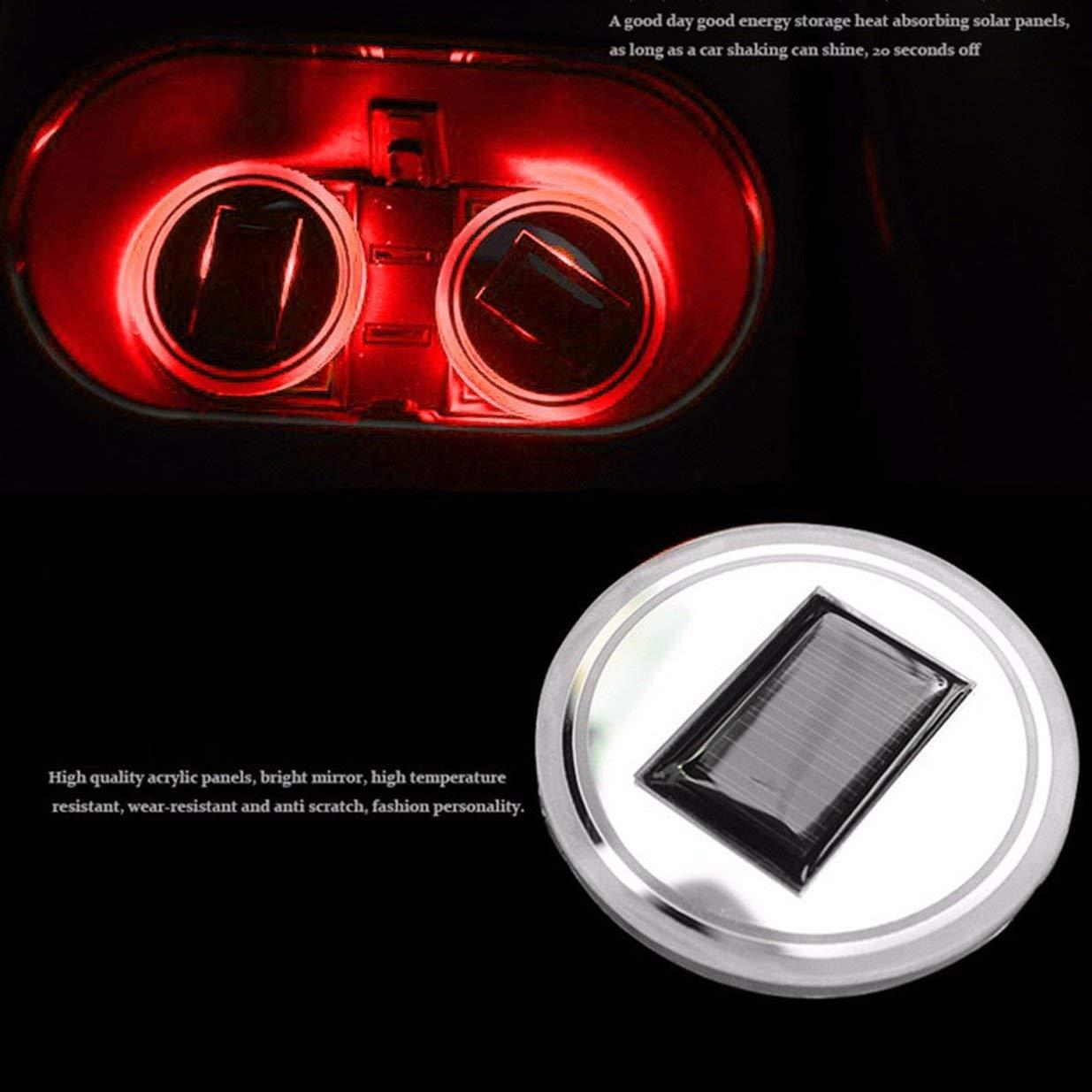 Universal Solar LED Car Holder Portavasos antideslizante Impermeable Pad Botella Bebidas Coaster Atm/ósfera L/ámpara para Coche SUV Cami/ón