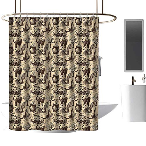 homehot Shower Curtains for Bathroom Gray Purple Vintage Halloween,Symbols of Halloween Witch Hat Cauldron Fall Jack o Lantern Black Cat,Light Brown,W72 x L84,Shower Curtain for clawfoot tub