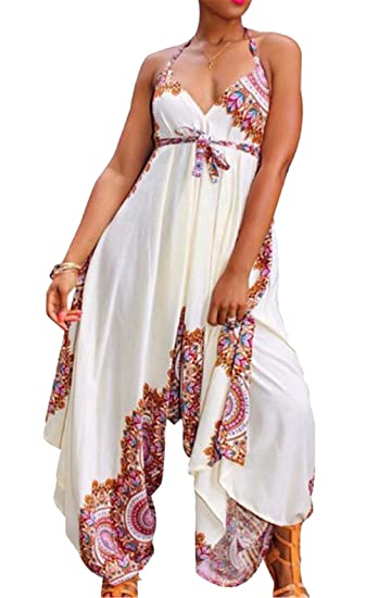 bb7eaa0cb5f Amazon.com  JINTING Women Floral Spaghetti Strap V Neck Sleeveless Wide Leg  Long Pants Casual Loose One Piece Harem Jumpsuit Romper  Clothing