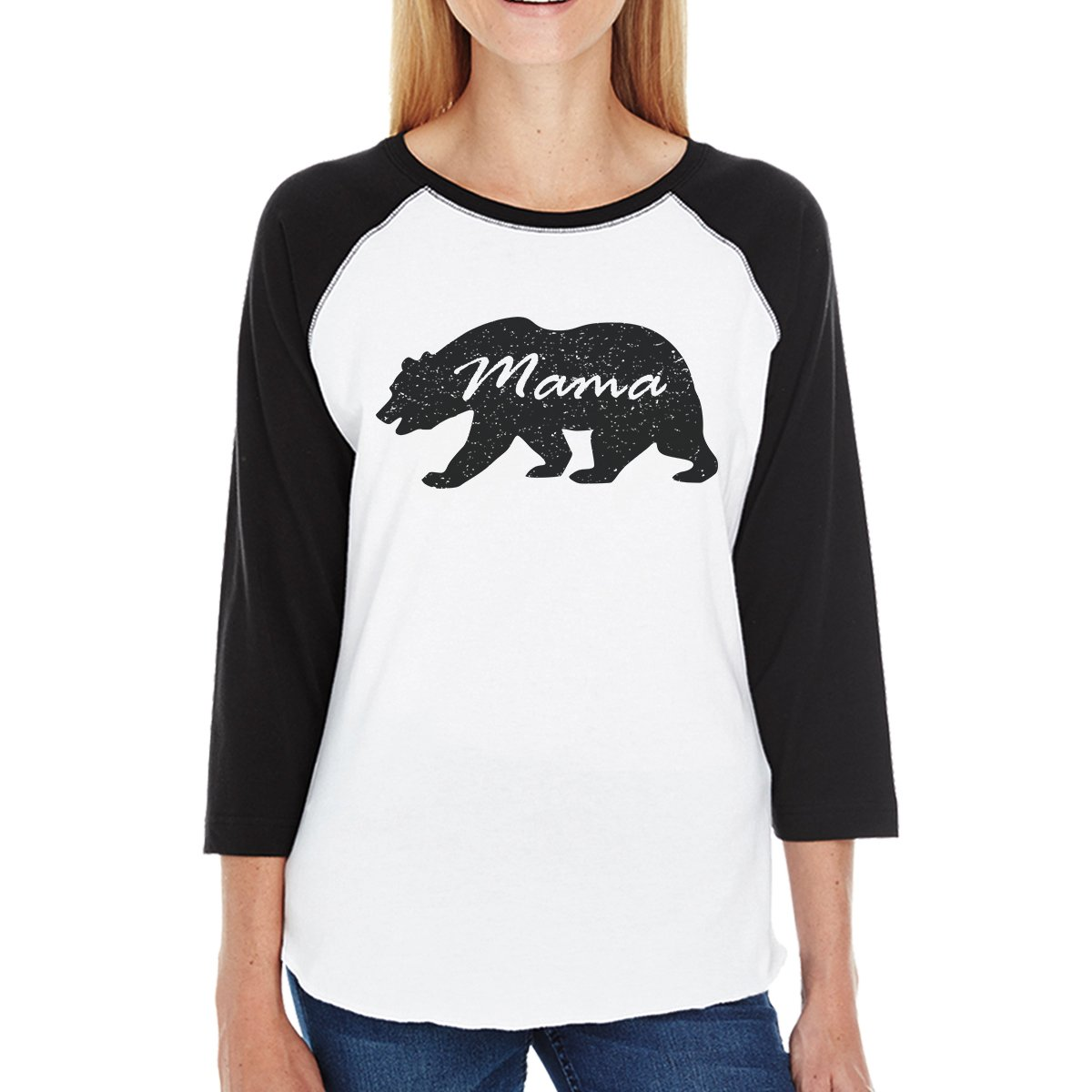 Mama Bear Womens 3/4 Black Sleeve Raglan Shirt Gift For New Moms 365 Printing inc JBS148BKWT WL