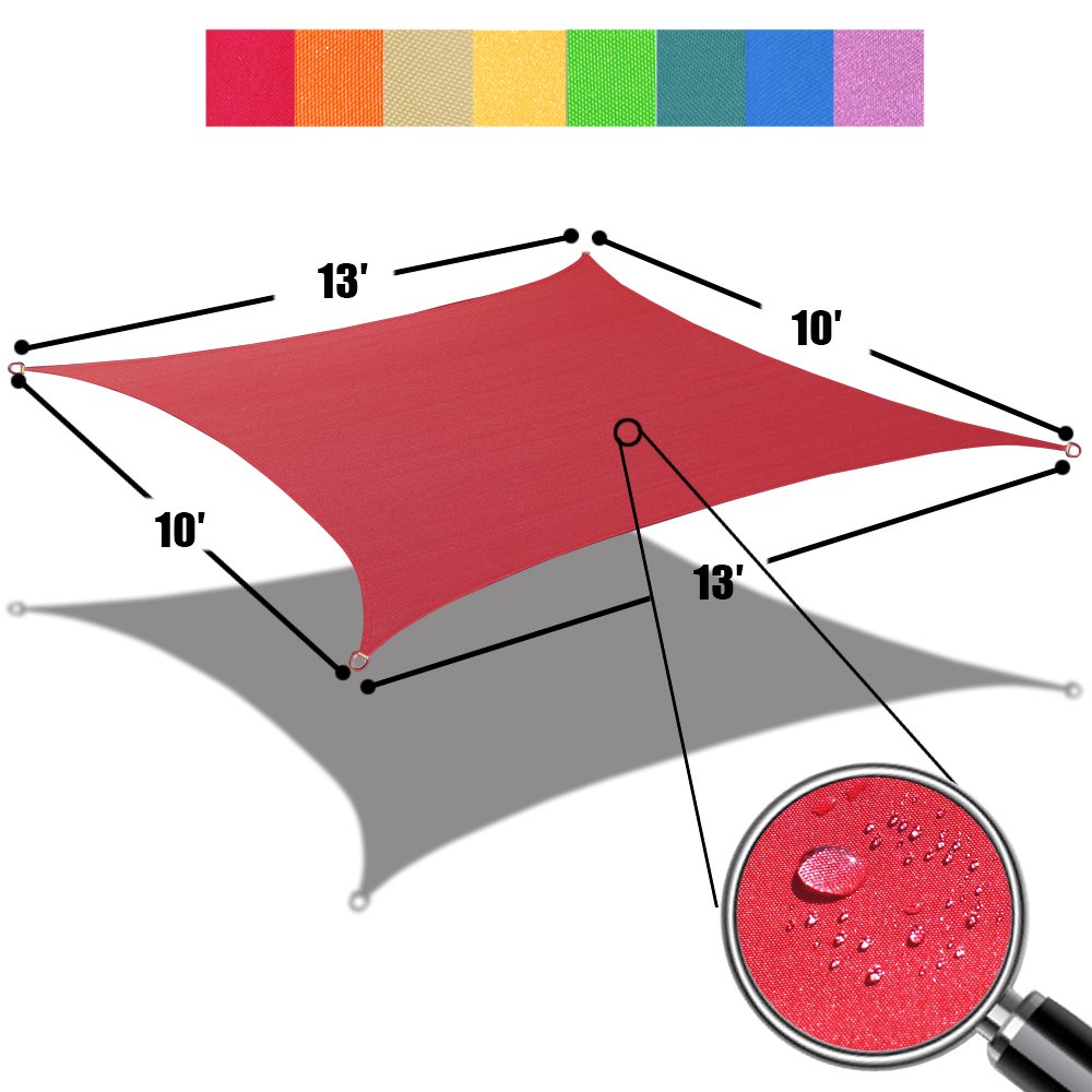 Alion Home 10' x 13' Waterproof Woven Sun Shade Sail in Vibrant Colors (Burgundy Red) by Alion Home