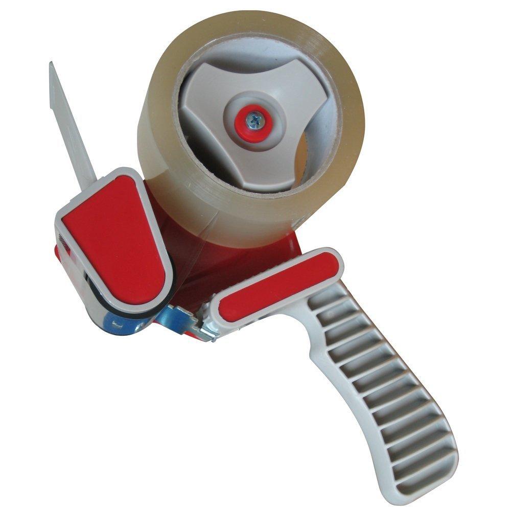 Dispensador de cinta de embalar resistente, con 2 rollos de cinta adhesiva de 50 mm con 2 rollos de cinta adhesiva de 50mm Ultratape 1