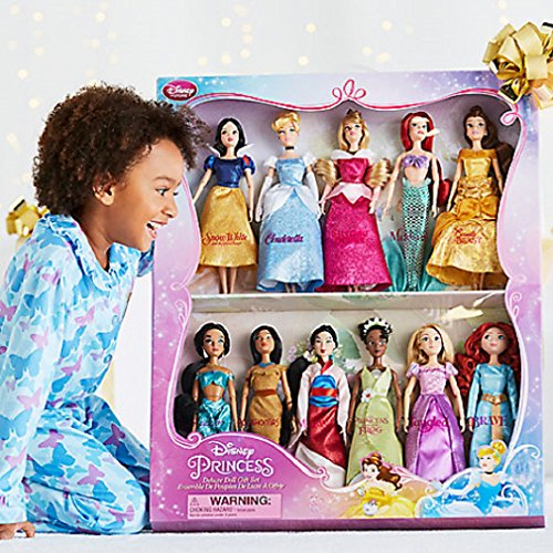 Disney Exclusive Princess Classic Doll Collection - 12- (11 Dolls:Snow White, Cinderella, Aurora, Ariel, Belle, Jasmine, Pocahontas, Mulan, Tiana, Rapunzel, and Merida) - Doll Box Costume