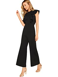 dbac461db210 Romwe Women s Sexy Casual Sleeveless Ruffle Trim Wide Leg High Waist Long  Jumpsuit