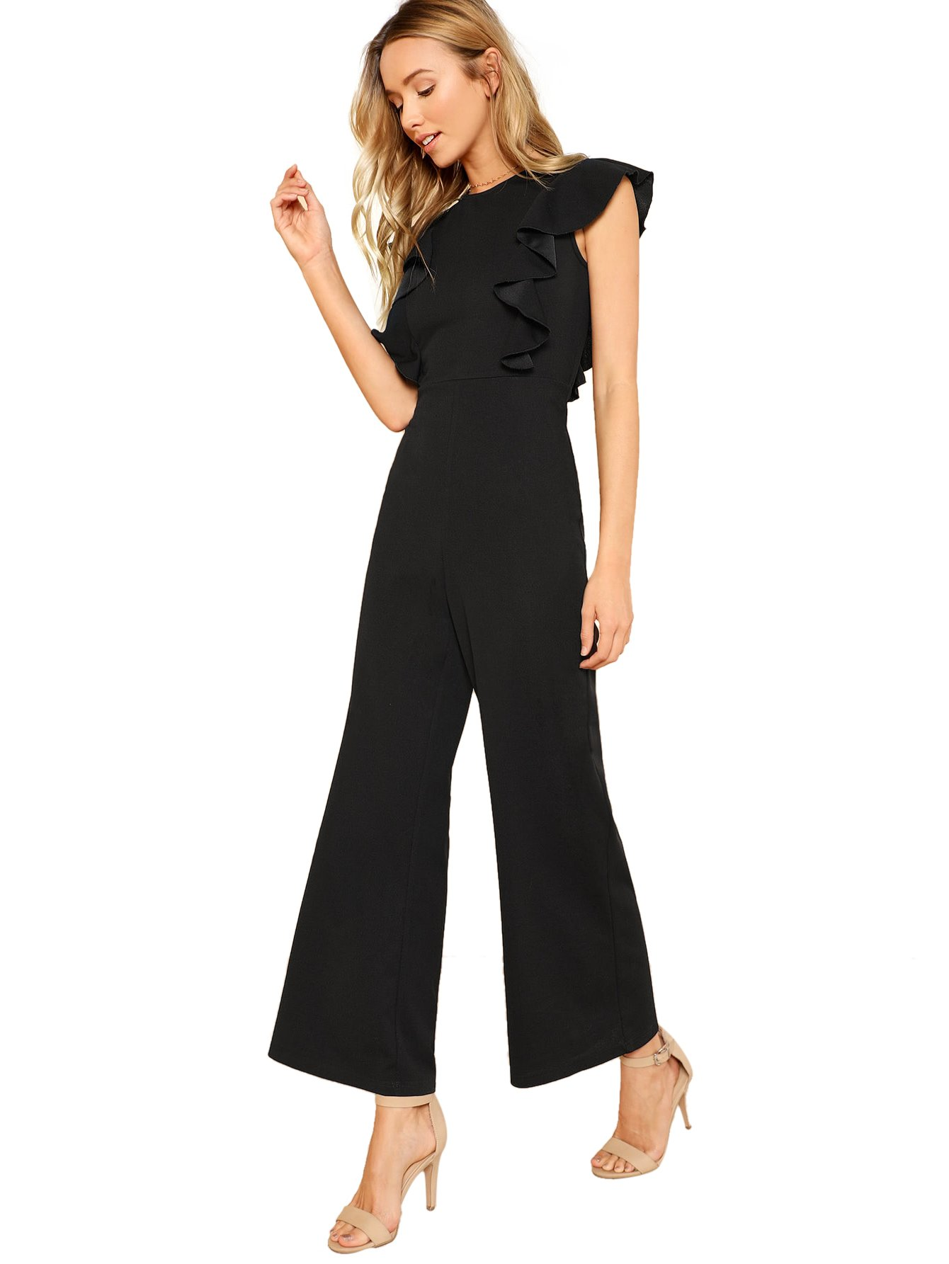 Romwe Women's Sexy Casual Sleeveless Ruffle Trim Wide Leg High Waist Long Jumpsuit Black S
