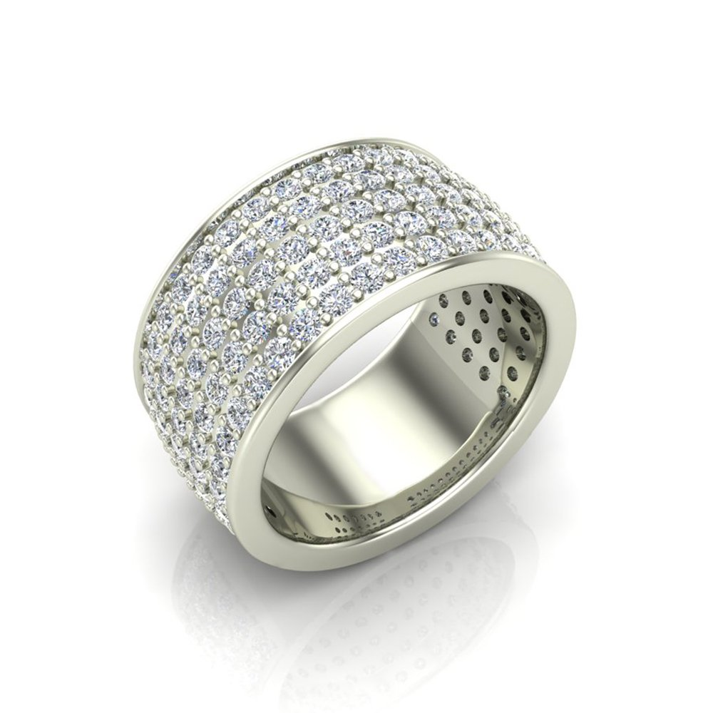 2.50 ct tw Five-row Women's Cocktail Diamond Band 18K White Gold (Ring Size 9)