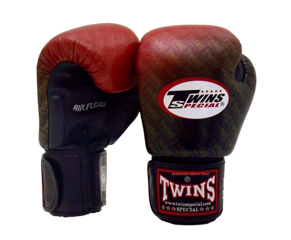 Twins Special ムエタイボクシンググローブ BGVLA 2 エアフローグローブ トレーニングやスパーリング用ユニベサルグローブ (TW1 ブラック-レッド 14オンス)