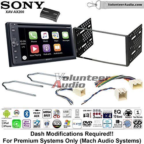 Volunteer Audio Sony XAV-AX200SXM Double Din Radio Install Kit with Bluetooth Android Auto Apple Carplay For 2001-2004 Escape, 2000-2004 Excursion, 1999-2004 F-150, 2001-2003 Mustang