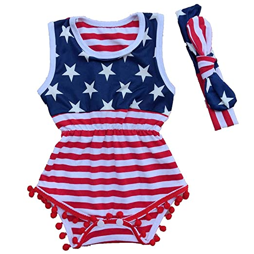 e49973dc4 Kingte Baby Girls Independence Day USA Flag Tassel Romper +Headband America  July 4th (12