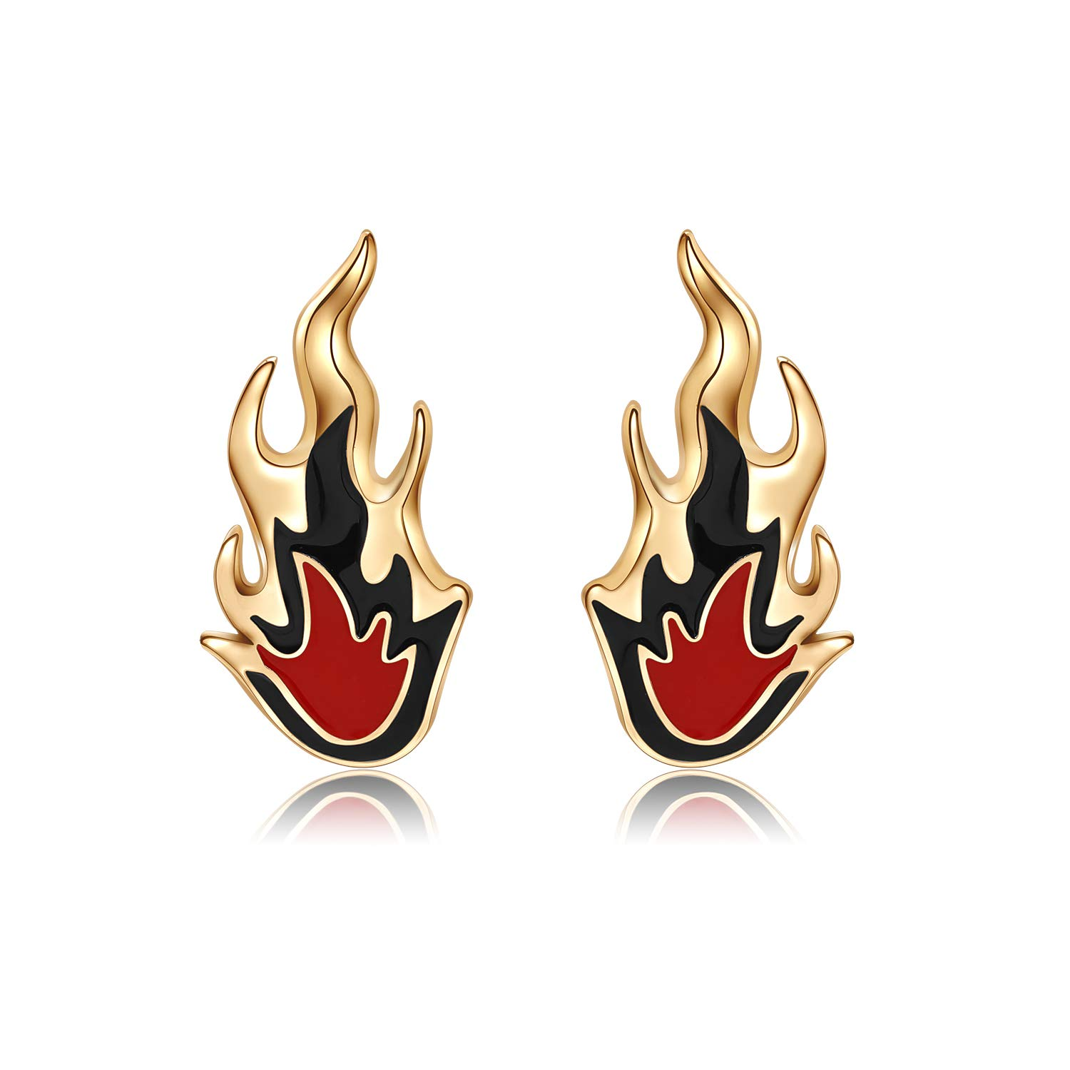 KANGYUAN Unique Cool Style Gold Color Red Shiny Fire Flame Shape Stud Earrings Fashion Jewelry For Women Man Christmas Gifts