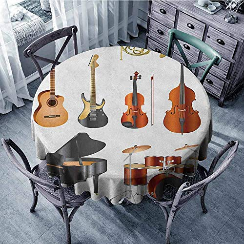 (ScottDecor Reusable Round Tablecloth Jacquard Tablecloth Music,Collection of Musical Instruments Symphony Orchestra Concert Composition Theme Print, Multicolor Diameter 50