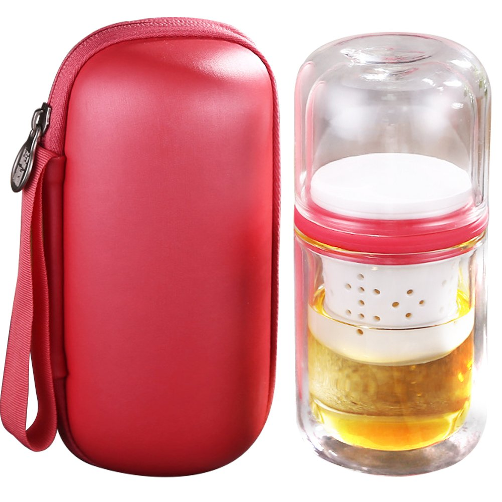 WINGOFFLY Portable All-in-One Travel Double Wall Glass Tea Cup Set with Infuser and Carrying Case Bag for Outdoors Picnic(Red)