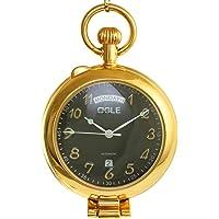 OGLE Waterproof Magnifier Calendar Date Week Gold Black Chain Half Hunters Fob Self Winding Automatic Skeleton Mechanical Standing Pocket Watch