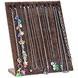 HOUSWEETY 1PC Coffee Brown Velvet Necklace Bracelet Chain Jewelry Display Holder Stand