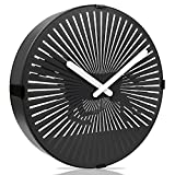 Betus Non-ticking 12 Inches Decorative Wall Clock – Novelty Black Round Clock for Living Room – Battery Powered – Galloping Horse