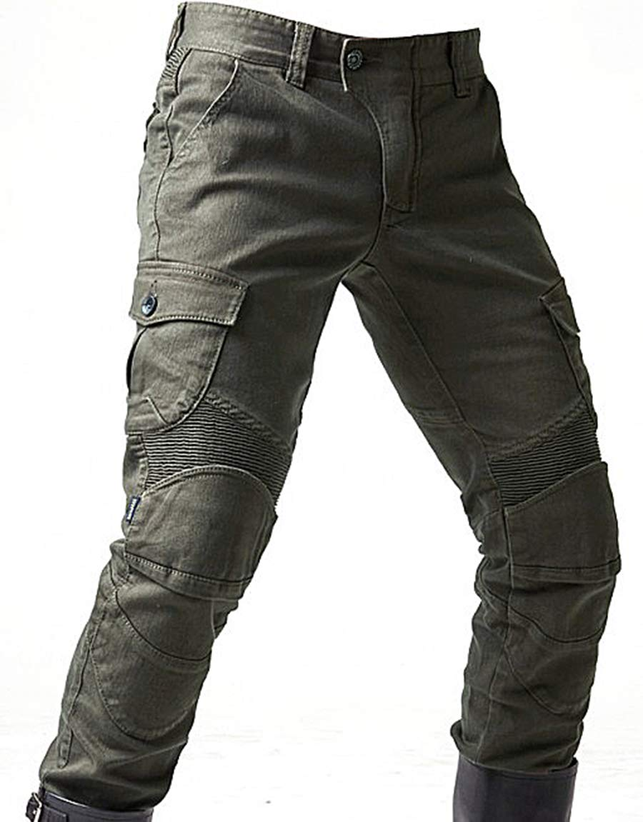 Alpha Rider Men Motorcycle Riding Trousers Motocross Denim Jeans With Protect Pads Equipment Racing Knight pants Army Green M
