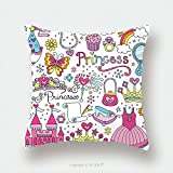 Custom Satin Pillowcase Protector Princess Ballerina Tiara Groovy Fairy Tale Notebook Doodles Set With Tutu Dress Crown Magic Wand 126933701 Pillow Case Covers Decorative
