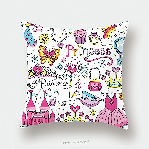 Custom Satin Pillowcase Protector Princess Ballerina Tiara Groovy Fairy Tale Notebook Doodles Set With Tutu Dress Crown Magic Wand 126933701 Pillow Case Covers Decorative by chaoran