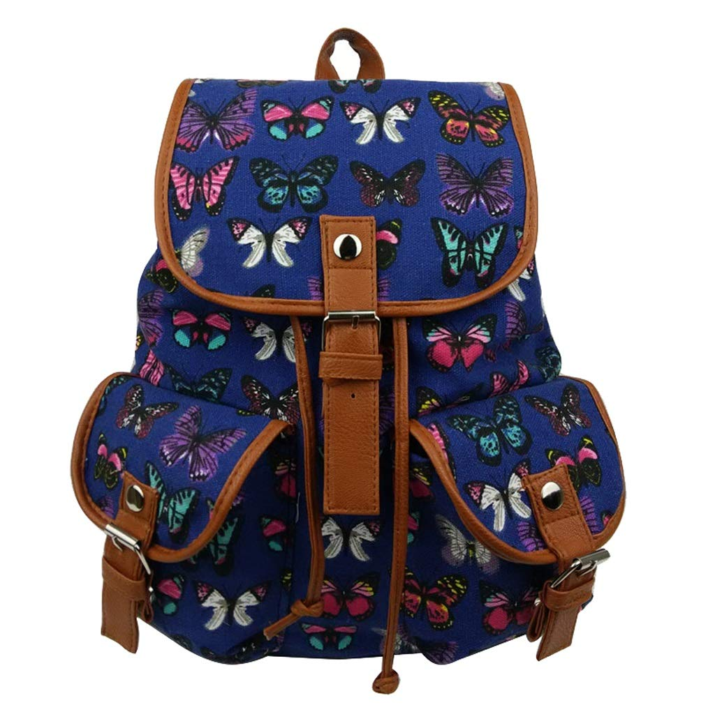 Nosterappou Personalized beauty butterfly print canvas backpack drawstring design daily necess student bag national wind computer bag backpack cute campus ladies student canvas drawstring backpack