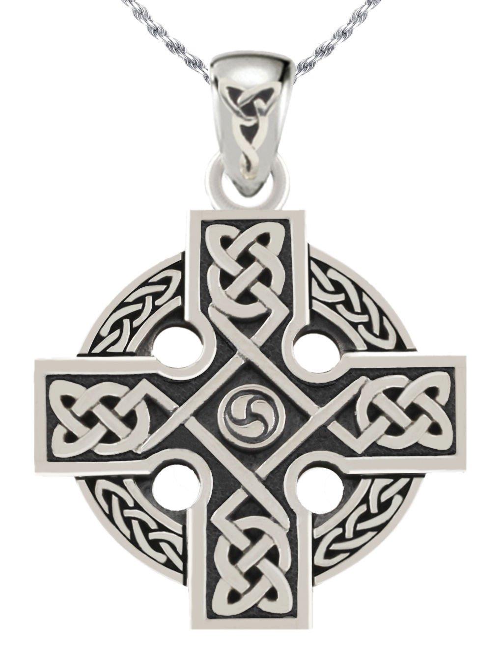 Men's 0.925 Sterling Silver Irish Celtic Knotwork Cross Pendant 2.0mm Curb Necklace, 24''