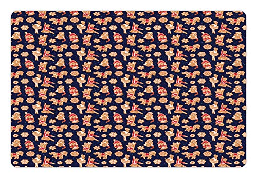 Lunarable Christmas Pet Mat for Food and Water, Gingerbread Pattern Nutcracker Ballerina Snowflakes, Rectangle Non-Slip Rubber Mat for Dogs and Cats, Indigo Persian Orange Vermilion Winter
