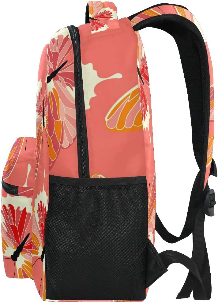 ALAZA Butterflies Pink Coral Color Stylish Large Backpack Personalized Laptop iPad Tablet Travel School Bag with Multiple Pockets