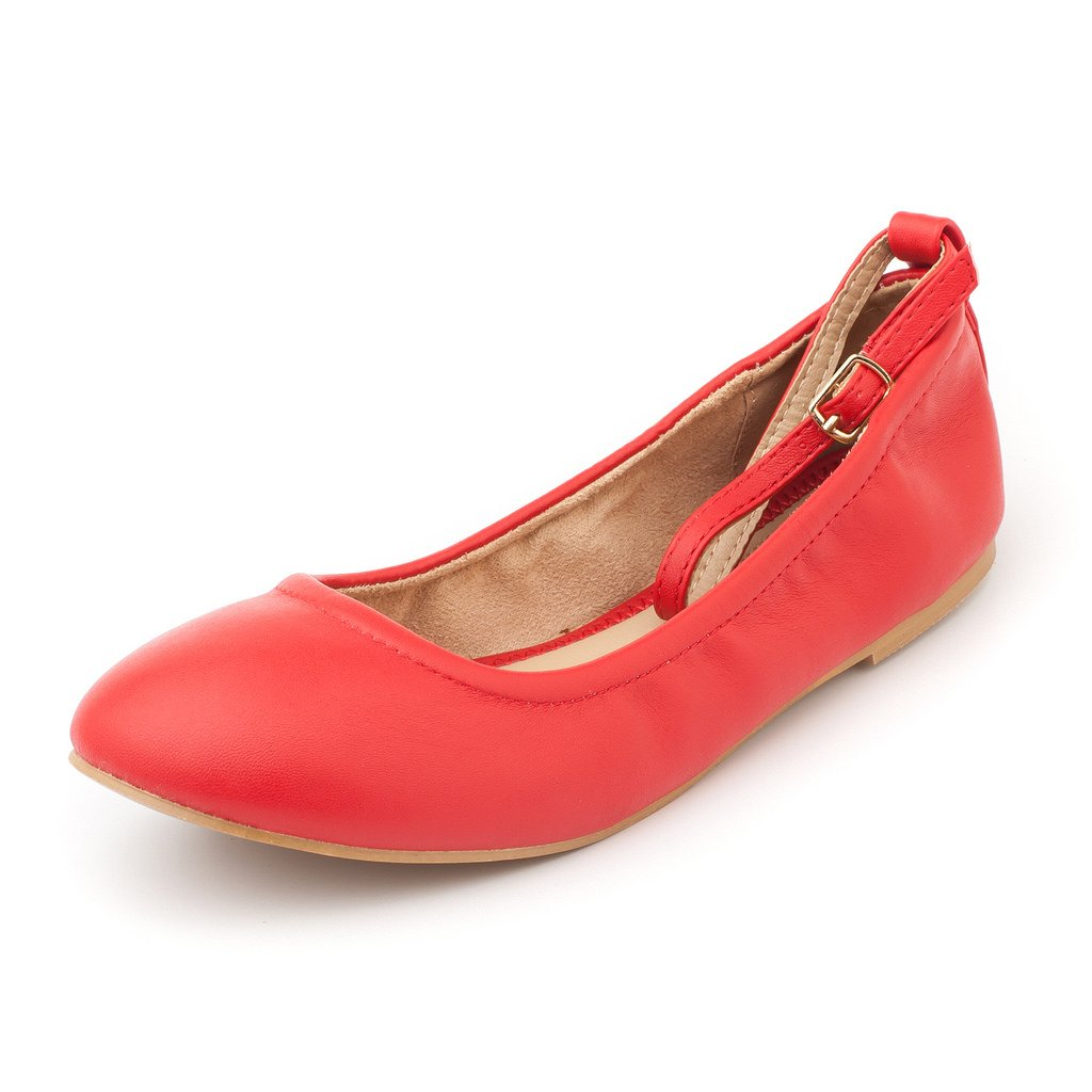 DREAM PAIRS Women's Sole-Fina-Straps Red Ankle Straps Ballet Flats Shoes - 12 B(M) US