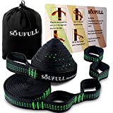 Soufull XL Hammock Straps Outdoor Tree Straps,38 Loops Combined 20Ft Long,1400LBS Breaking Strength,Tree Friendly,Quick&Easy Set up