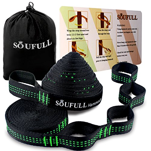 Soufull XL Hammock Straps Outdoor Tree Straps,38 Loops Combined 20Ft Long,1400LBS Breaking Strength,Tree Friendly,Quick&Easy Set up by Soufull