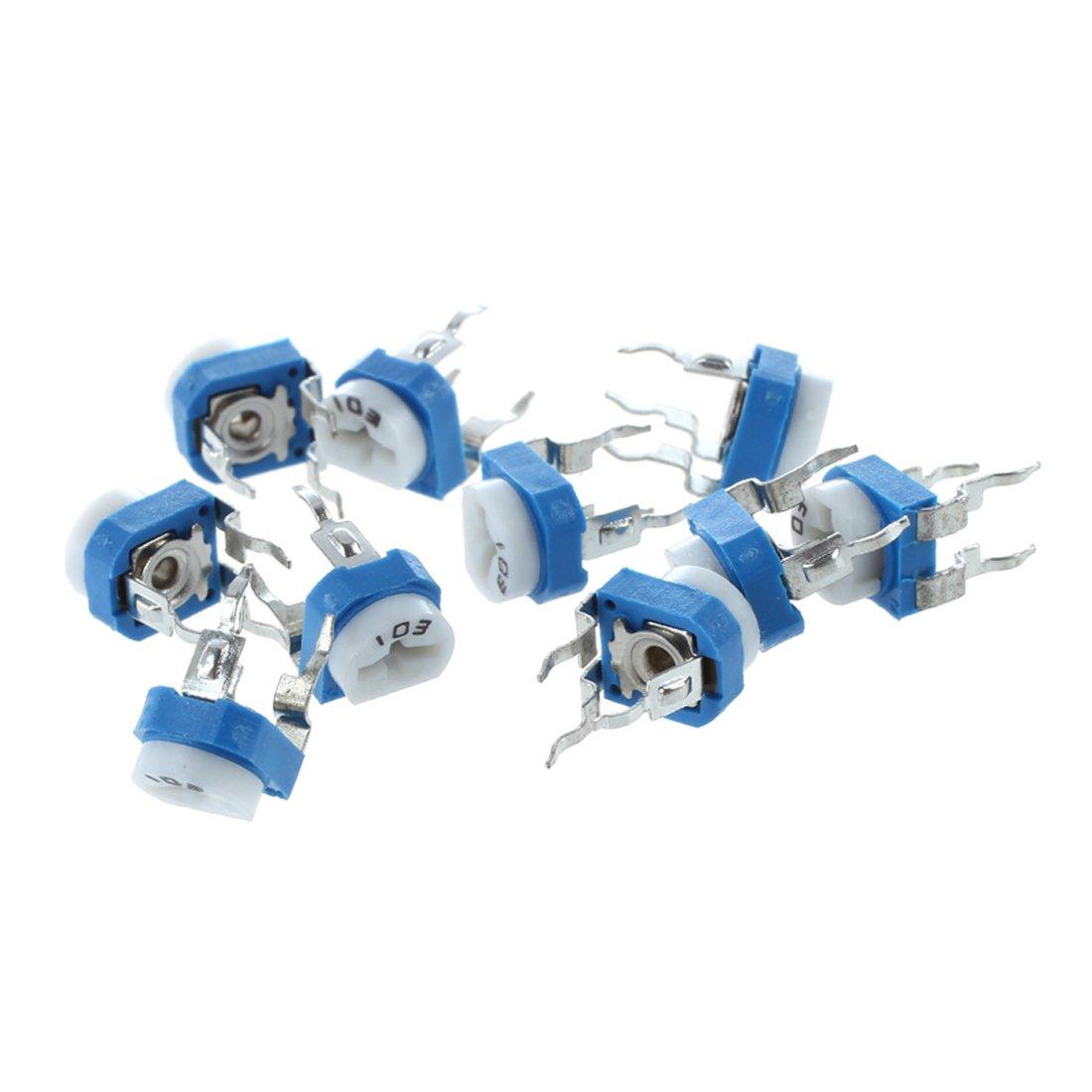 SODIAL(R) 10X 6mm 10k ohm Horizontal Pot Variable Cermet Potentiometer Trimmer Resistor UK