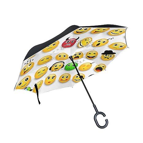 COOSUN Emoticons amarillos Emojis doble capa del paraguas invertido inversa para el coche y el uso