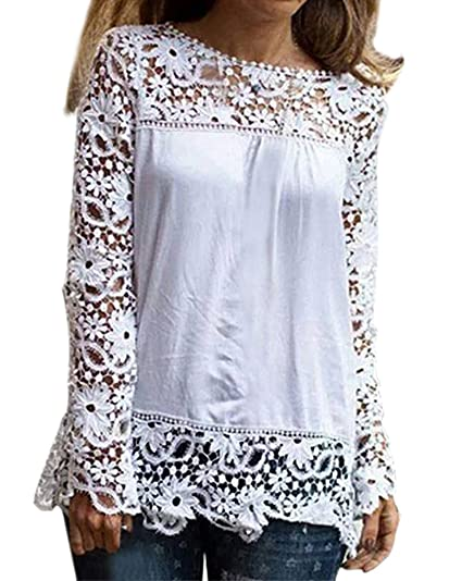 Adelina Blusas Mujer Camisas Camisas Encaje Elegantes Otoño Primavera Anchos Talla Grande Casual Shirts Splice Hollow Chiffon Cuello Redondo Color Sólido ...