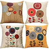 pillows for sofa  Cartoon Flowers Pattern Cushion Covers Decorative Throw Pillows For Sofa 18x18 inches Pack of 4