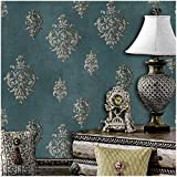 JZ118 Retro Blue Damask Wallpaper Rolls, Metal Lace Texture Embossed Vinyl Wallpaper Bedroom Living Room Hotel Wall Decoration 20.8'' x 393.7''
