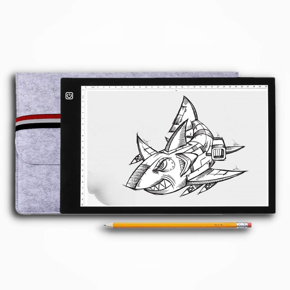 Weeding Vinyl Ultra-Thin Led Light Box Tracer LED Artcraft Tracing Light Pad Dimmable Brightness Light Board with Case for Artists Drawing Diamond Painting Calligraphy Quilting A4 Light Box