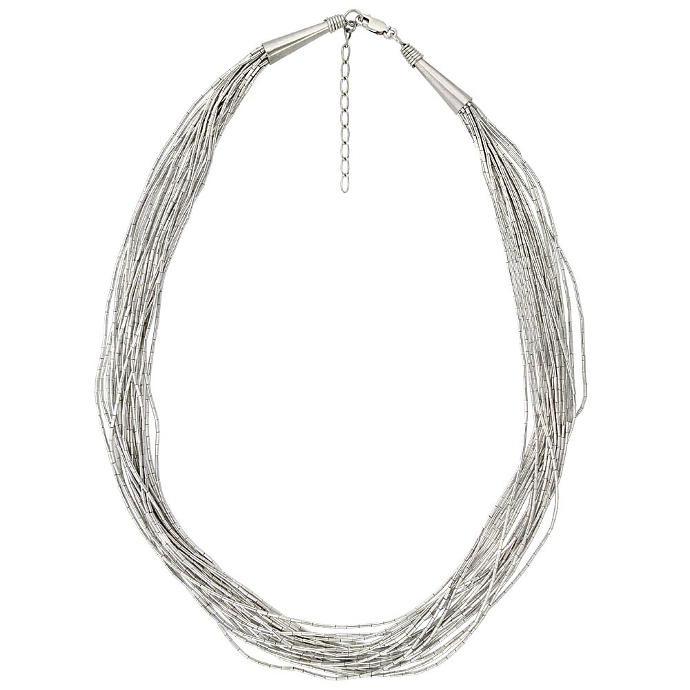 Sterling Silver Liquid Silver Necklace 19 strands 18 inch Cone Caps + 2 inch extention