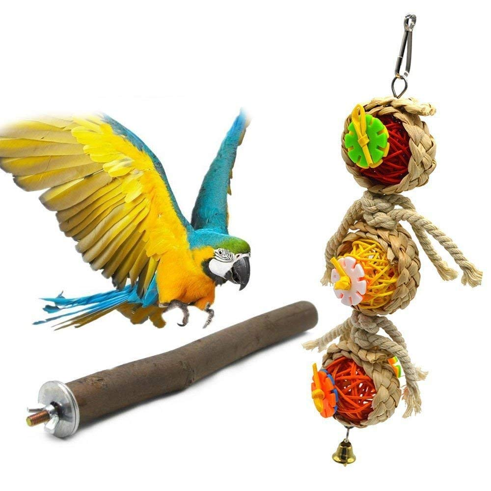 Parrot Perches Wood Bird Perch Cage Perch Waffle Ball Toy for Birds, Cage Accessories Perch Stand(Pack of 2) … Hamiledyi