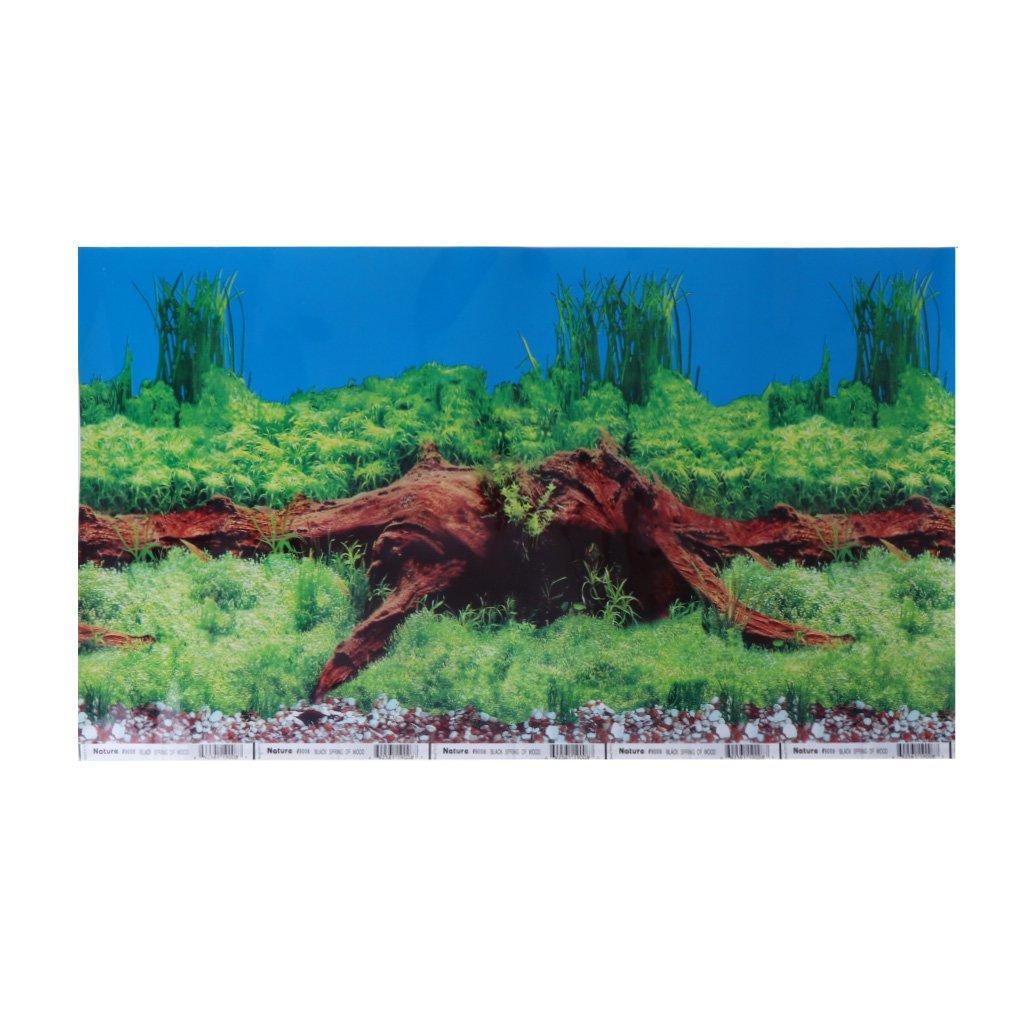 Kofun Aquarium Poster Double Sided PVC Background Fish Tank Decor Landscape 40x30 cm