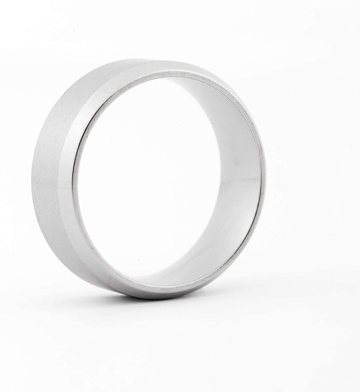 JFSG 6mm 7mm 8mm 316L Stainless Steel Ring Matte Finished Engravable Step-Edge Comfort Fit Wedding Band