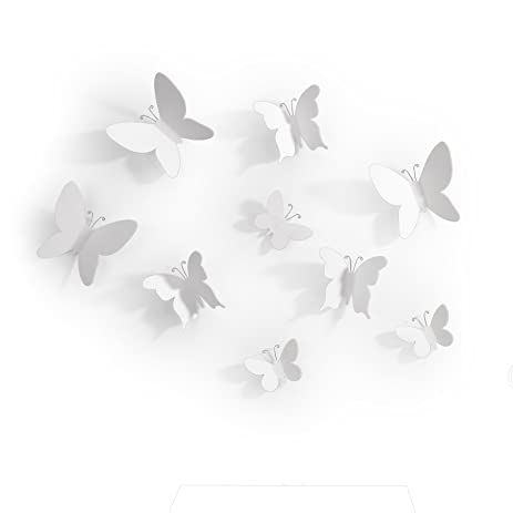 Amazon.com: Umbra Mariposa Adhesive Wall Decor, White, Set of 9 ...