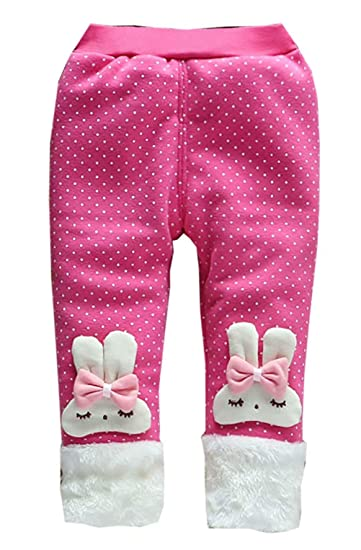 dc98cfc4abdf Amazon.com  Baby Girl Winter Warm Pants Plus Thick Velvet Rabbit ...