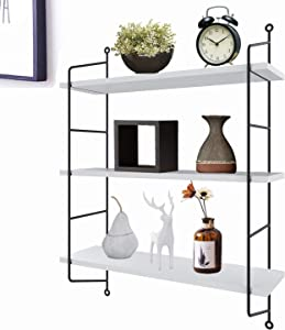 3-Tiers Industrial Floating Shelves Wall Mounted,Decorative Wall Shelf Hanging Storage Display Rack for Room/Kitchen/Office/Bathroom (White)