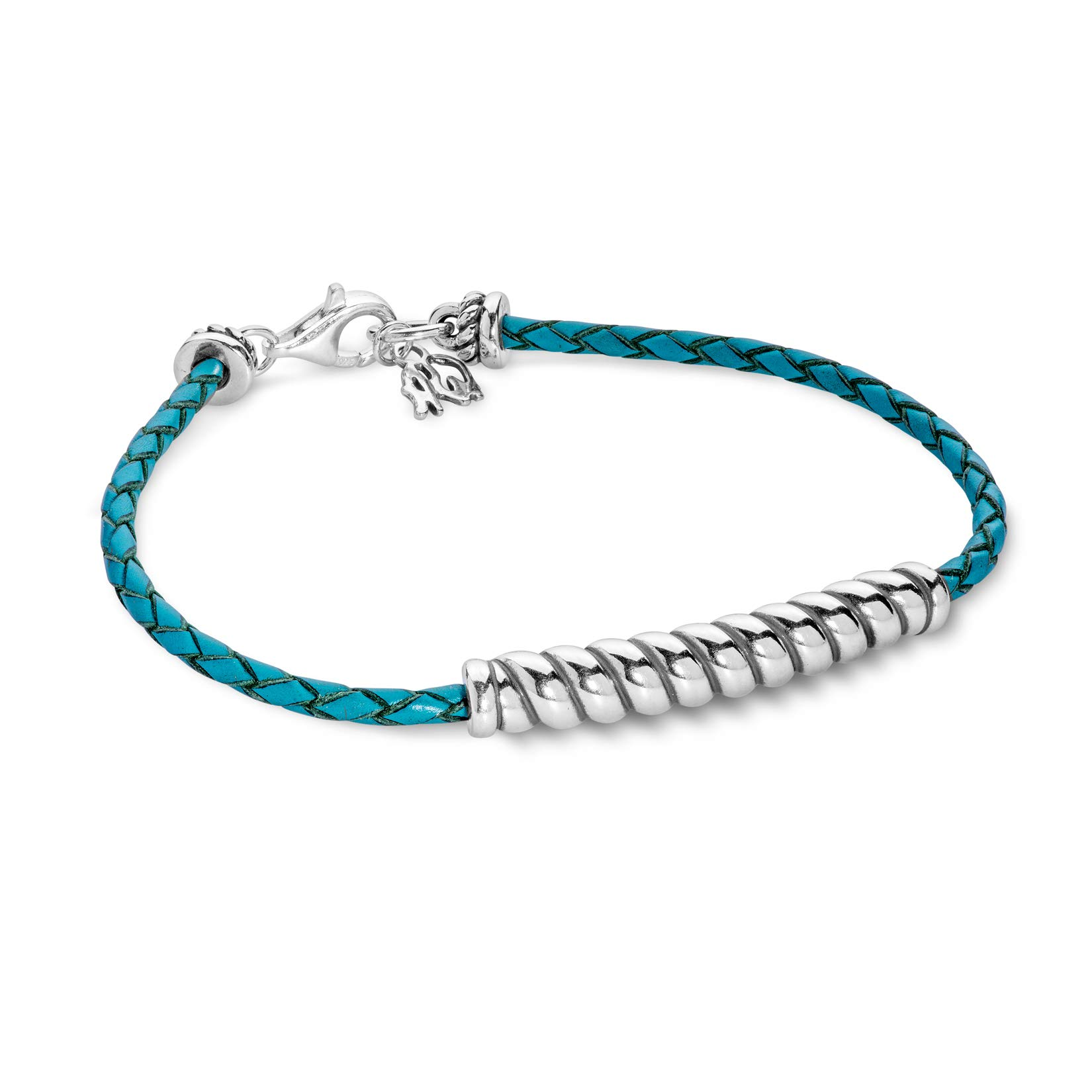 American West Sterling Silver Turquoise Leather Rope Bar Bracelet Size Large