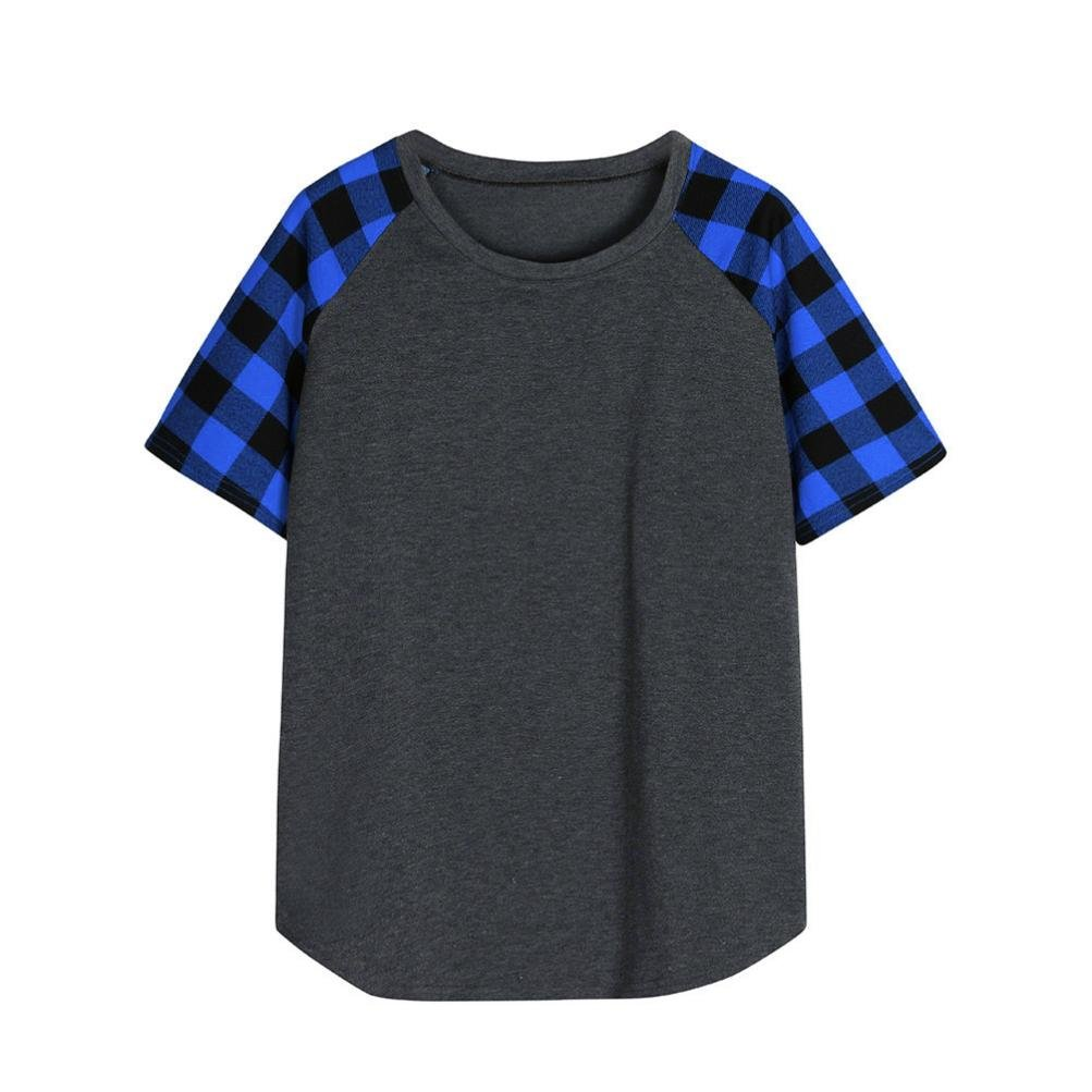Amazon.com: T Shirts for Womens, FORUU Short Sleeve Plaid Patchwork Casual Blouse Tops Tees: Clothing