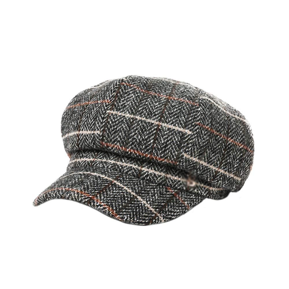 Hat Beret Female Winter Korean Version of The Tide Japanese Painter Wild Cute Octagonal Fashion Plaid Work fine